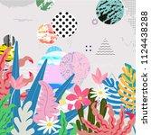 tropical jungle leaves... | Shutterstock .eps vector #1124438288