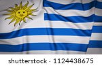 uruguay national flag... | Shutterstock . vector #1124438675