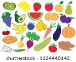 fruits  berries and vegetables... | Shutterstock .eps vector #1124440142