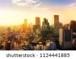 cityscape of tokyo city sunset  ... | Shutterstock . vector #1124441885