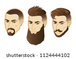 set of vector men face hipster... | Shutterstock .eps vector #1124444102