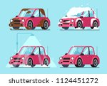 washing dirty car. steps of... | Shutterstock .eps vector #1124451272