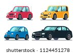 different flat cars. cheap... | Shutterstock .eps vector #1124451278