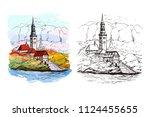 watercolor illustration of bled ... | Shutterstock .eps vector #1124455655