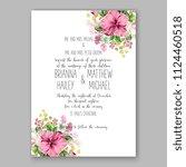 floral pink hibiscus wedding... | Shutterstock .eps vector #1124460518