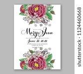 floral burgundy marron rose... | Shutterstock .eps vector #1124460668