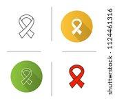 anti hiv ribbon icon. fighting... | Shutterstock .eps vector #1124461316