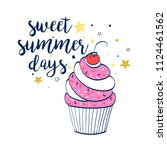 sweet summer days slogan and... | Shutterstock .eps vector #1124461562