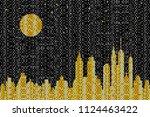 mosaic skyline at night | Shutterstock .eps vector #1124463422
