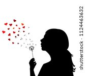 girl blowing on dandelion and... | Shutterstock .eps vector #1124463632