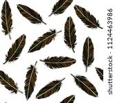 birds feathers seamless.... | Shutterstock .eps vector #1124463986