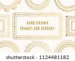 set of golden hand drawn frames ...   Shutterstock .eps vector #1124481182