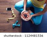 healthy breakfast  fitness... | Shutterstock . vector #1124481536