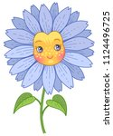 blue flower has a funny face... | Shutterstock .eps vector #1124496725