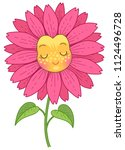 pink flower has a funny face... | Shutterstock .eps vector #1124496728