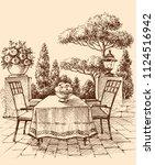 lounge  restaurant or house... | Shutterstock .eps vector #1124516942