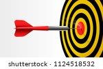 red dart stick on center of... | Shutterstock .eps vector #1124518532