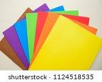 colorful eva foam scattered on...   Shutterstock . vector #1124518535