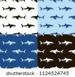sharks seamless pattern.... | Shutterstock . vector #1124524745