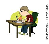 boy writes with a pen sitting...   Shutterstock .eps vector #112452836