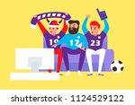 football fans watch the match... | Shutterstock .eps vector #1124529122