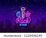 rock star neon sign vector....   Shutterstock .eps vector #1124536145