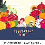 fruitarian food diet  flat...   Shutterstock .eps vector #1124537552