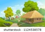 Farm Houses Along A Narrow...