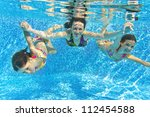 Happy Smiling Family Underwater ...