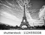 eiffel tower in paris on...   Shutterstock . vector #1124550338