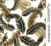 tropical vintage vector banana... | Shutterstock .eps vector #1124550776