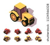 tractors isometric icon set.... | Shutterstock .eps vector #1124566328