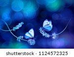 beautiful white blue...   Shutterstock . vector #1124572325