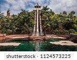 high steep water slide on... | Shutterstock . vector #1124573225