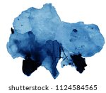 watercolor black and blue stain ... | Shutterstock . vector #1124584565