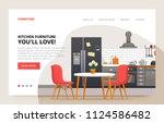 dinner room design. home... | Shutterstock .eps vector #1124586482
