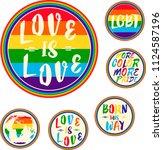 lgbt rights symbols. love is... | Shutterstock .eps vector #1124587196