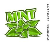 logo for mint herb  label with... | Shutterstock . vector #1124591795