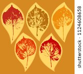 vector set of stickers with... | Shutterstock .eps vector #1124608658