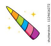 rainbow unicorn's horn   Shutterstock .eps vector #1124616272