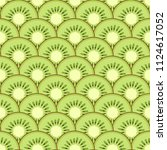 kiwi slices seamless pattern.... | Shutterstock .eps vector #1124617052