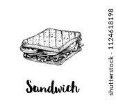 rectangular sandwich with... | Shutterstock .eps vector #1124618198