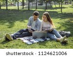 two students preparing for the... | Shutterstock . vector #1124621006