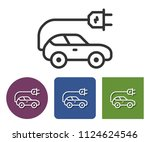 electric car line icon in... | Shutterstock . vector #1124624546