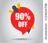 sale 90  off discount price tag ... | Shutterstock .eps vector #1124624708