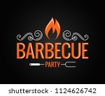 barbecue party vintage logo on... | Shutterstock .eps vector #1124626742
