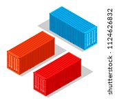 cargo containers isolated on...   Shutterstock .eps vector #1124626832