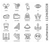 set of 16 icons such as happy ...