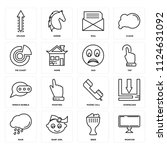 set of 16 icons such as monitor ...