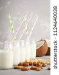 vegan alternative nut milk in... | Shutterstock . vector #1124640038